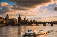 The magical atmosphere of evening Prague