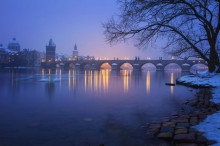 Winter river evening
