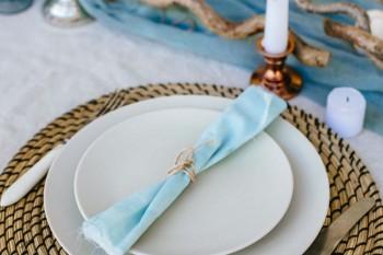 Svatební servis modrý